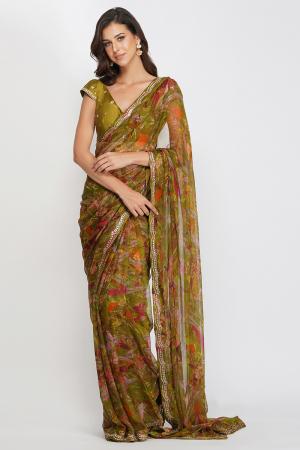 green viscose chiffon and chanderi leaf print saree set