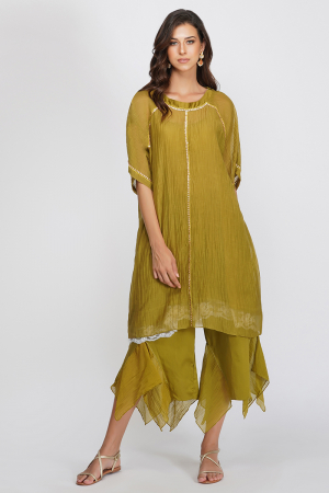 green chanderi and glace cotton tshirt tunic with aymmetrical pants