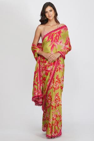 green viscose silk and chanderi contrast flower print saree