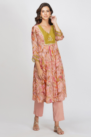 pink viscose chiffon and glace cotton sequin flower panelled tunic set