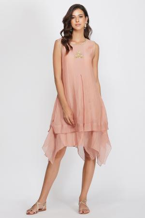 pink chanderi sequin flower asymmetrical dress