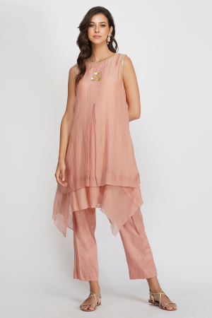 pink chanderi and glace cotton sequin flower asymmetrical tunic set
