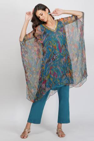 teal viscose chiffon and glace cotton leaf print sequin kaftan set