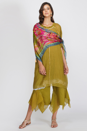 multi viscose satin and georgette multi leaf print scarf