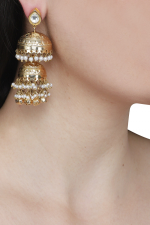Audrey gold double jhumkis with pearl and ghungroo