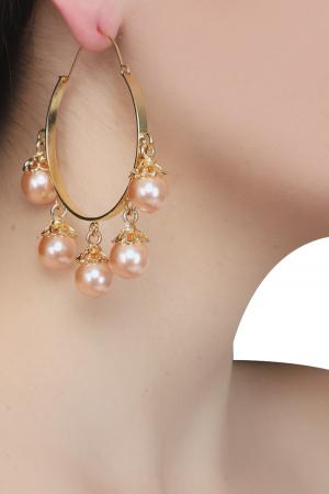 Hoop pink pearls earrings
