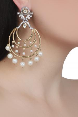 Zircon polki chand bali+pearl hanging earrings
