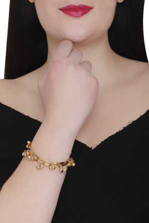 Ghungroo bangles silver+copper mix, gold plated