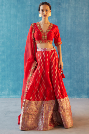 Red hand woven and georgette silk pragya lehnga set