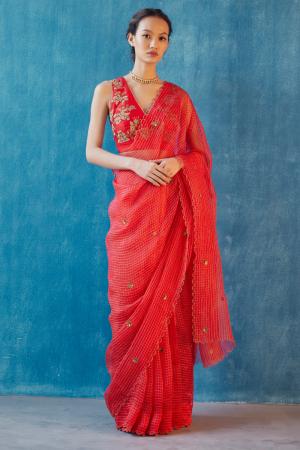 Red hand woven organza ruchi saree set