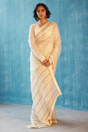 Ivory hand woven organza indu saree set