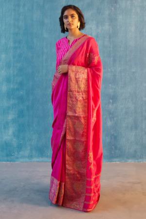 Rani pink chanderi silk rani saree set