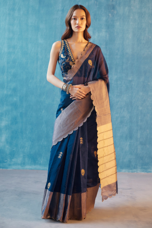 Navy blue hand woven chanderi silk  neema saree set