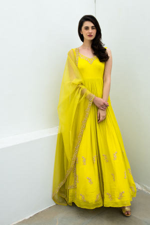Citric yellow hand embroidered worked anarkali with dupatta