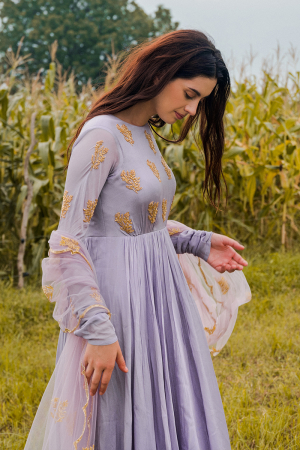 Lavender hand embroidered worked anarkali with dupatta