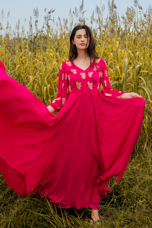 Hot pink hand embroidered worked anarkali with dupatta