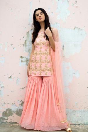 Blush pink hand embroidered worked sharara kurta and dupatta