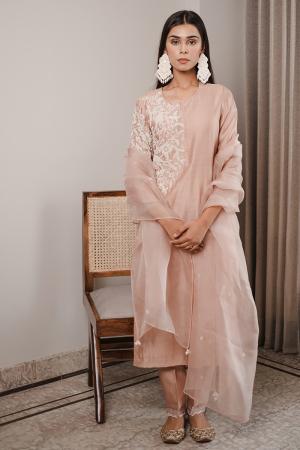 dusty pink parinda kurta set