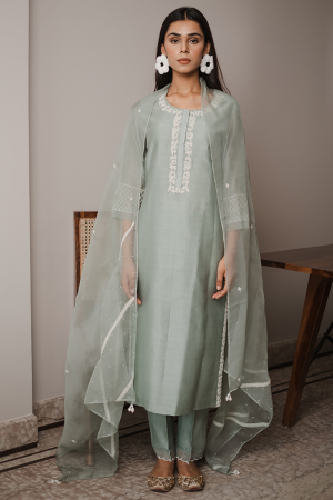 mint green shadab kurta set