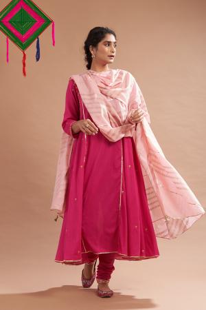 Rani pink ber cotton kurta set