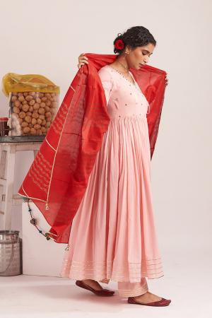 Gulabi Cotton Angrakha kurta set