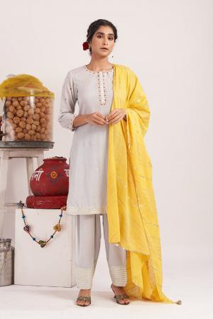 Grey Boondi cotton short kurta set