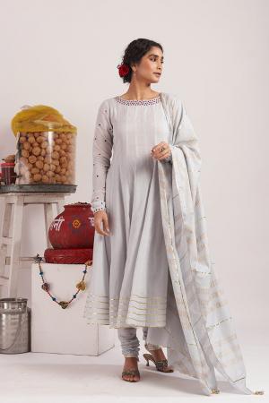 Grey Chandi cotton kurta set