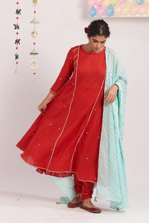 Red Charkhi cotton kurta set