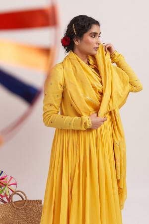 Yellow peetal cotton angrakha kurta set