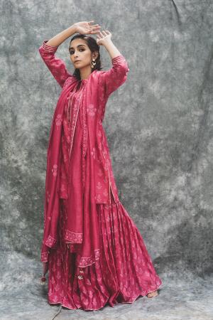 Pink Chanderi hand block printed short kurta set