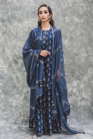 Blue Chanderi hand block printed short kurta