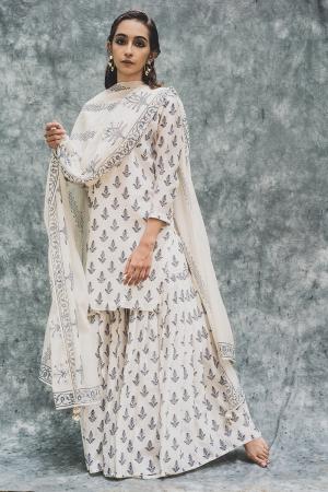 White Chanderi hand block printed short kurta set