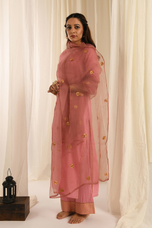 Old rose kurta set with organza gota dupatta set