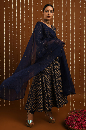 Mid night blue gold khadi kalidar set