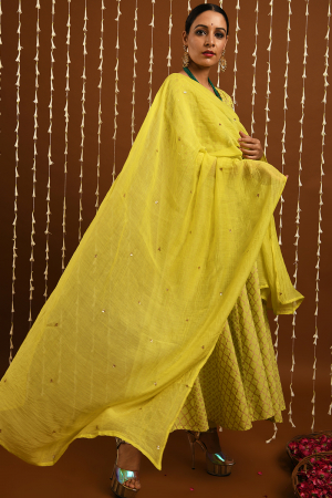 Lime Gold khadi kalidar set