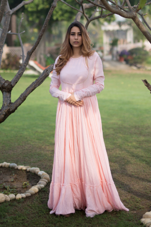 Light Blush Pinkangrakha style gather anarkali