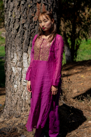 Purple color comfort fit staright kurta set