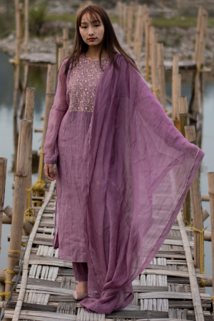 Mauve color comfort fit staright kurta set
