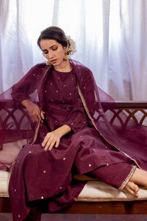 Wine and blush Anarkali set