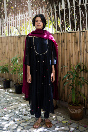 black and wine Handwoven chanderi Kurta set