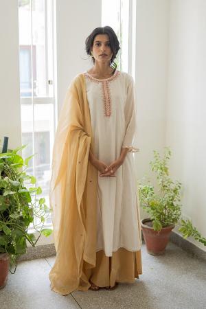 ivory and gold Handwoven chanderi Sharara set