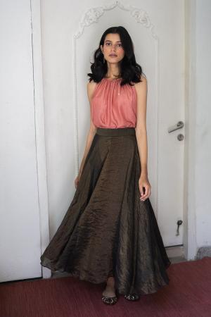 gold and black Handwoven banarsi zari Skirt