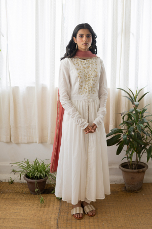 ivory and old rose Handwoven chanderi Dress