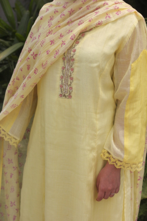 Sunshine Yellow And Ivory Handwoven Chanderi Kurta Set
