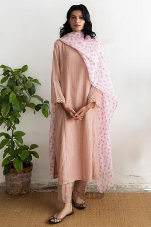 salmon and blush pink Handwoven chanderi Kurta set