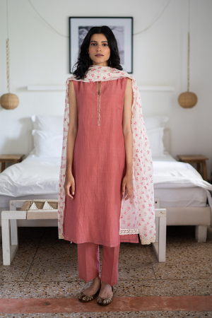 old rose and ivory Handwoven chanderi Tunic set