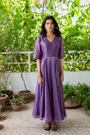 violet Banarsi zari Dress