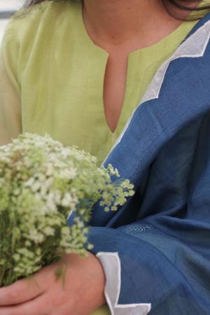 Ochre Lime And Royal Blue Handwoven Chanderi Kurta Set