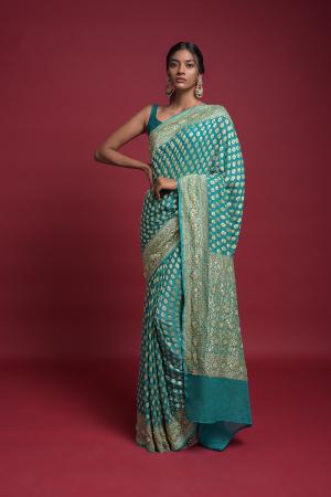 Ocean Green Banarasi Saree In Georgette With Weaved Buttis Along With Kundan Work