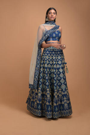 Yale Blue Lehenga With Foil Printed Buttis And Chandelier Motifs